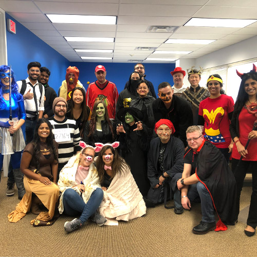 pcmi halloween 2019 team photo in costumes