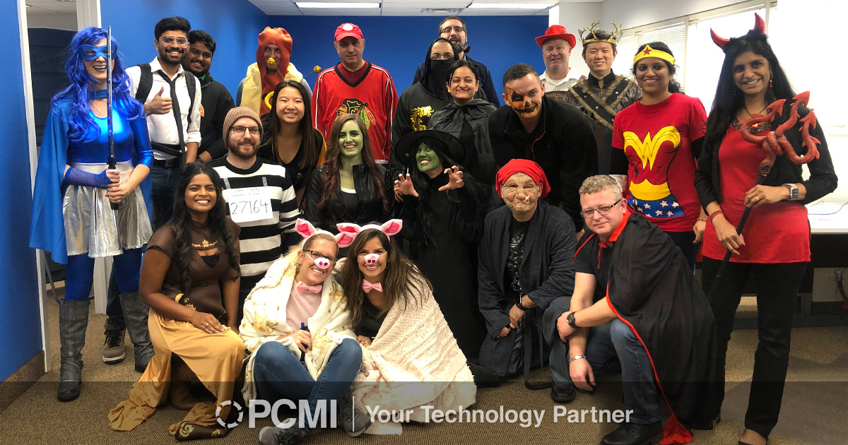 pcmi halloween 2019 chicago team photo in costumes