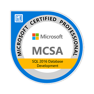 MCSA SQL 2016 Database Development certification badge