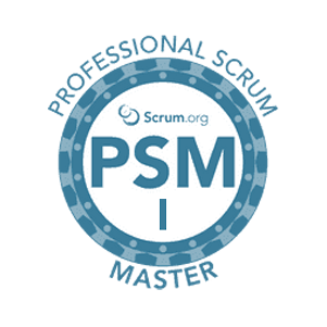 Professional Scrum Master level 1 badge