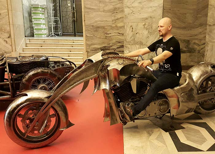 Piotr on a cool bike