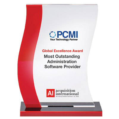 Most Outstanding Administration Software Provider award trophy