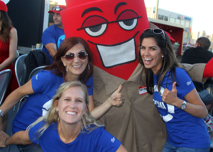 Baseball outing - employees with mascot