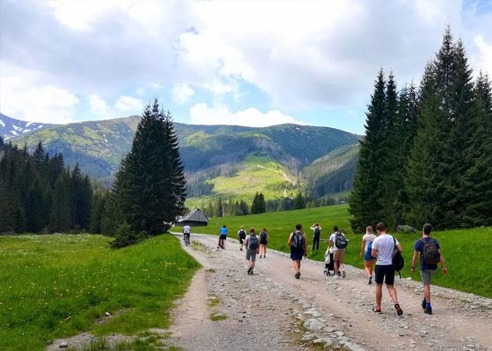 Poland team walking on a mountain
