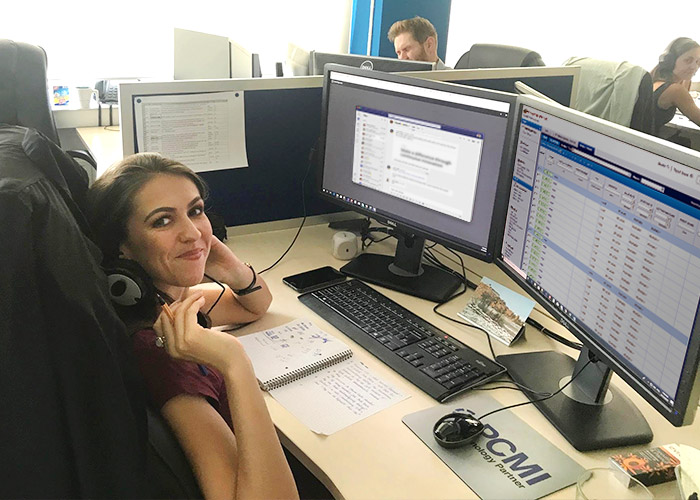 Poland team Agnieska at her desk