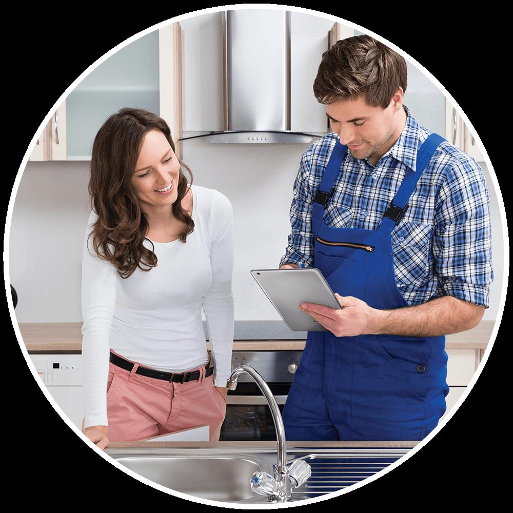 Appliances Service Technician with customer